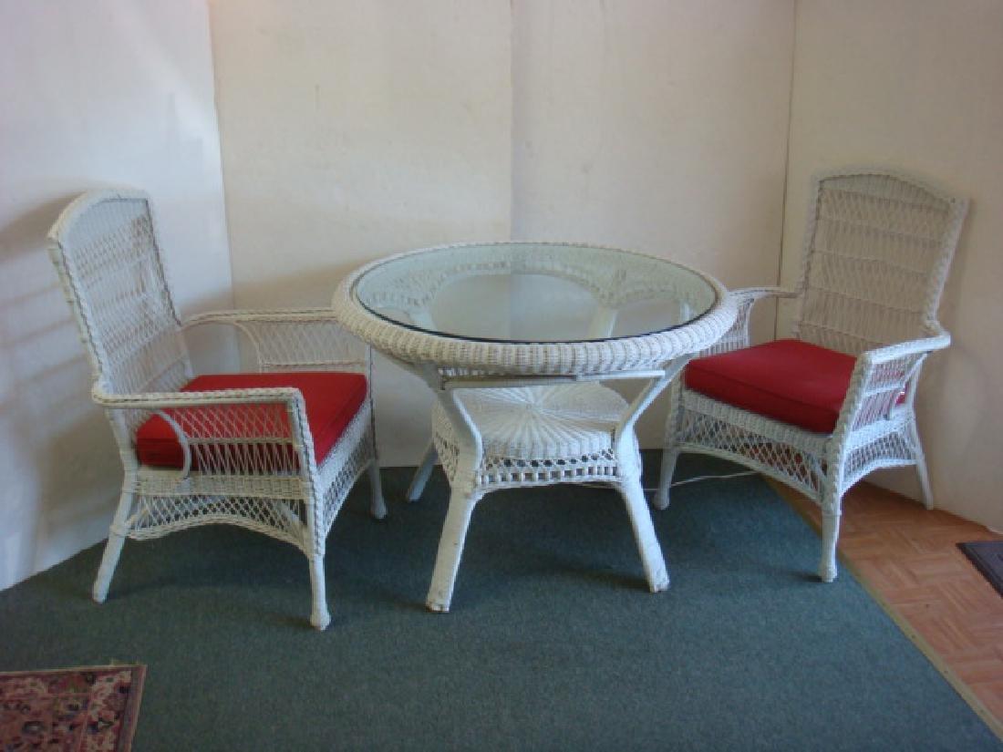 Three Piece White Wicker Patio or Florida Room Set: