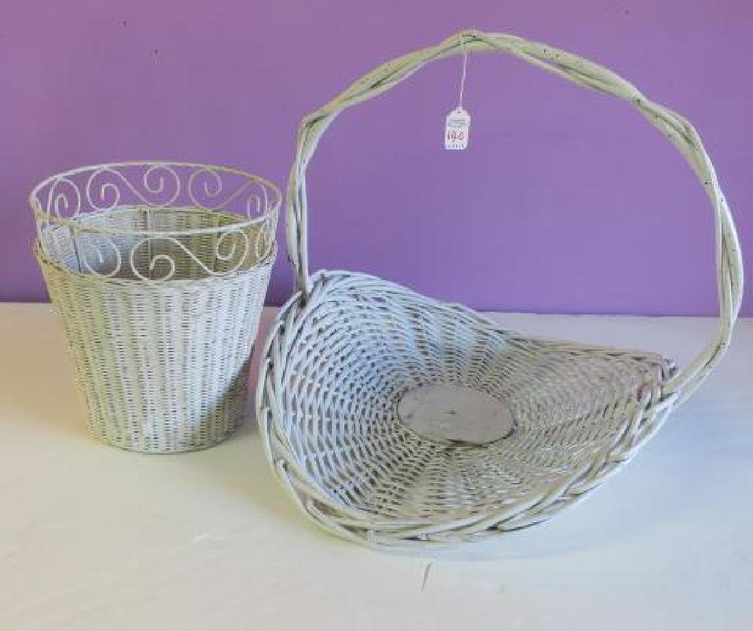 Wicker Waste Basket & Handled Flower Basket: