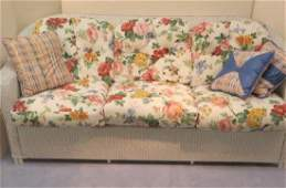 Six Cushion LLOYD LOOM White Sofa with Floral Pattern