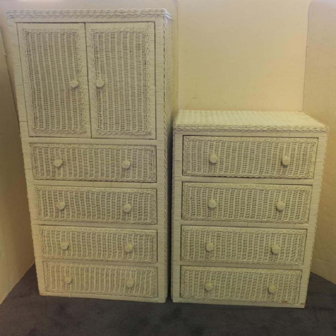 White Wicker Bachelor Chest and Four Drawer Dresser: