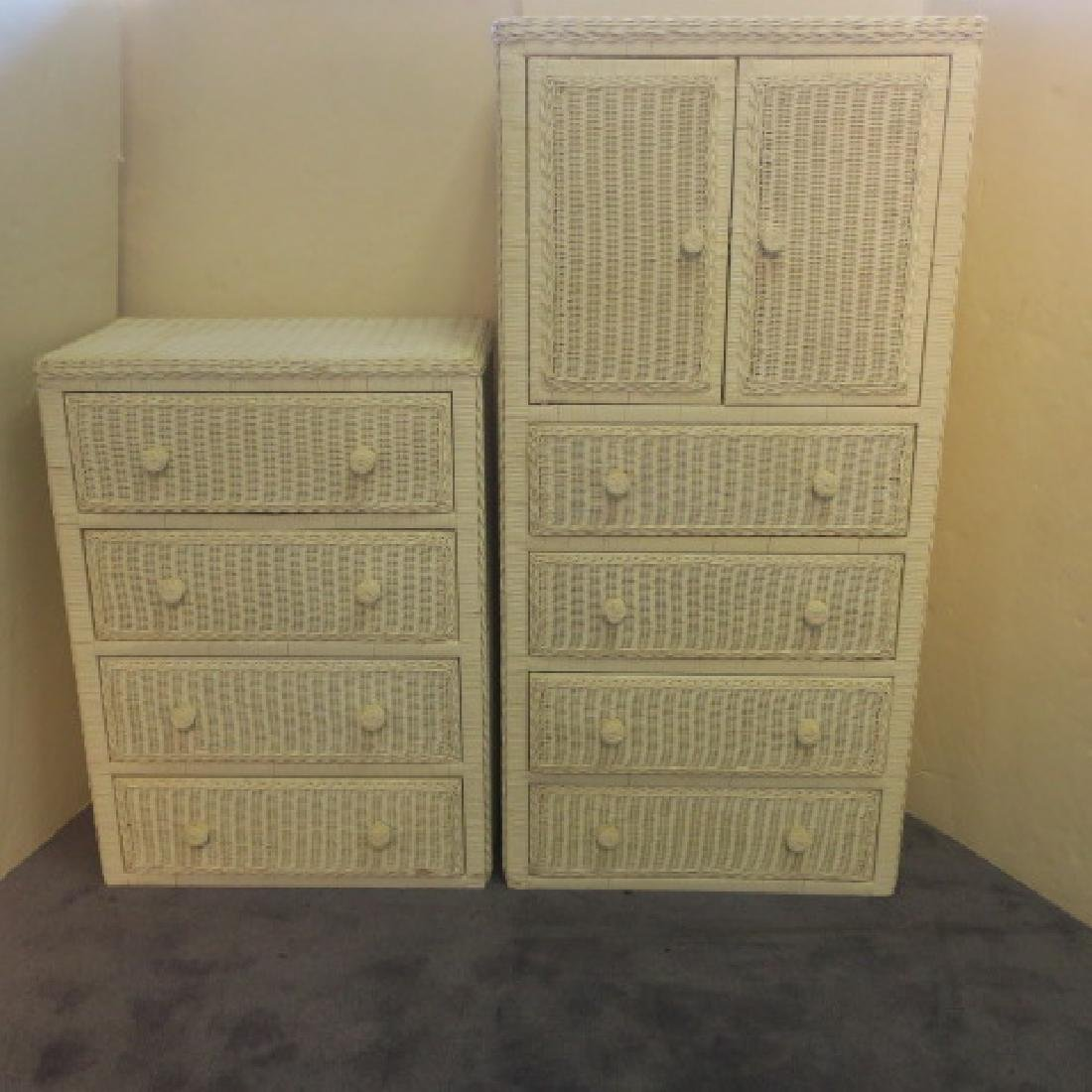 White Wicker Four Drawer Dresser and Armoire: