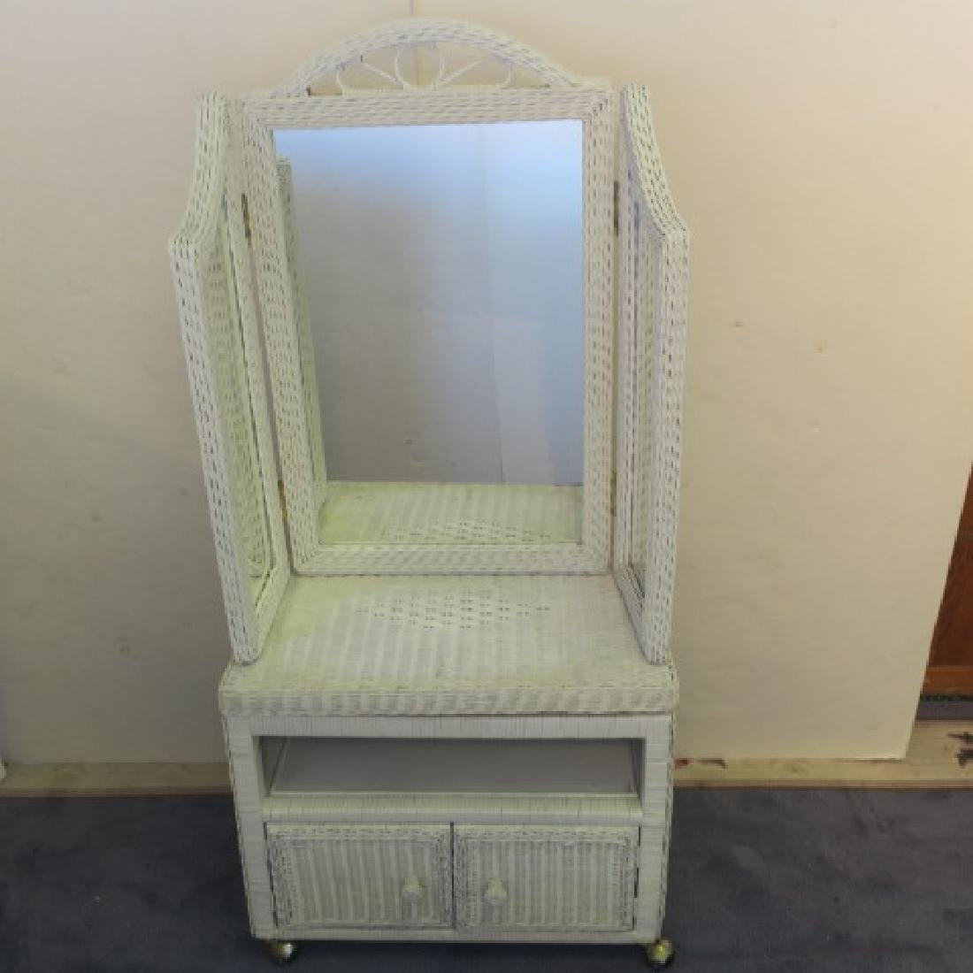 Wicker Rolling TV Stand/ Bench and Trifold Mirror: