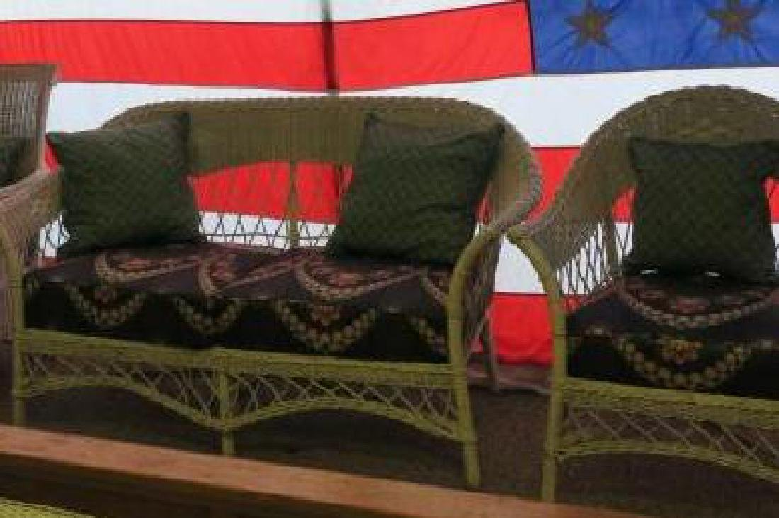 Matching Antique Wicker Settee & Arm Chair: