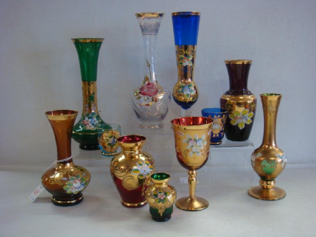 Eleven Murano Glass Vases and Stem, Applied Flowers: