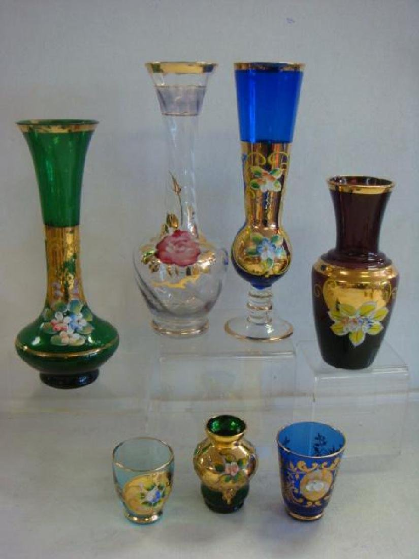 Eleven Murano Glass Vases and Stem, Applied Flowers: - 2