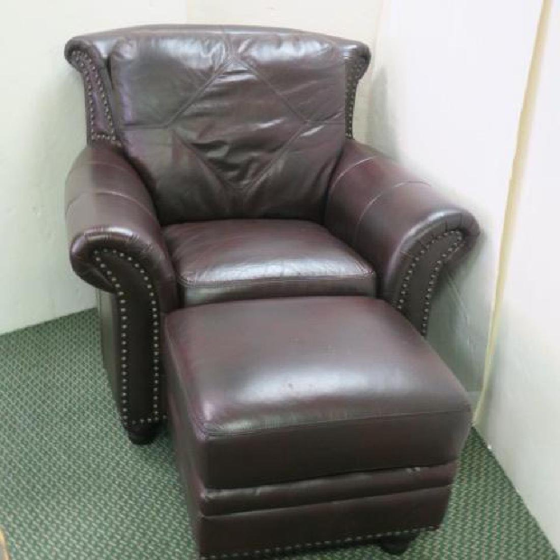 GRAMERCY PARK Leather Arm Chair and Ottoman: