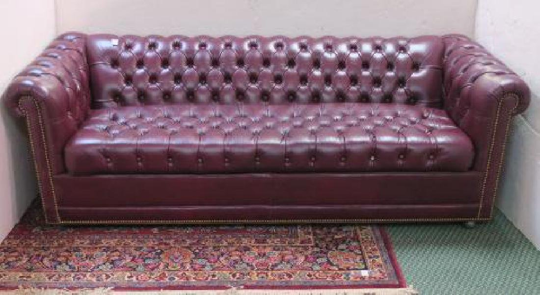 Button Tufted Leather Chesterfield Sofa Bed: