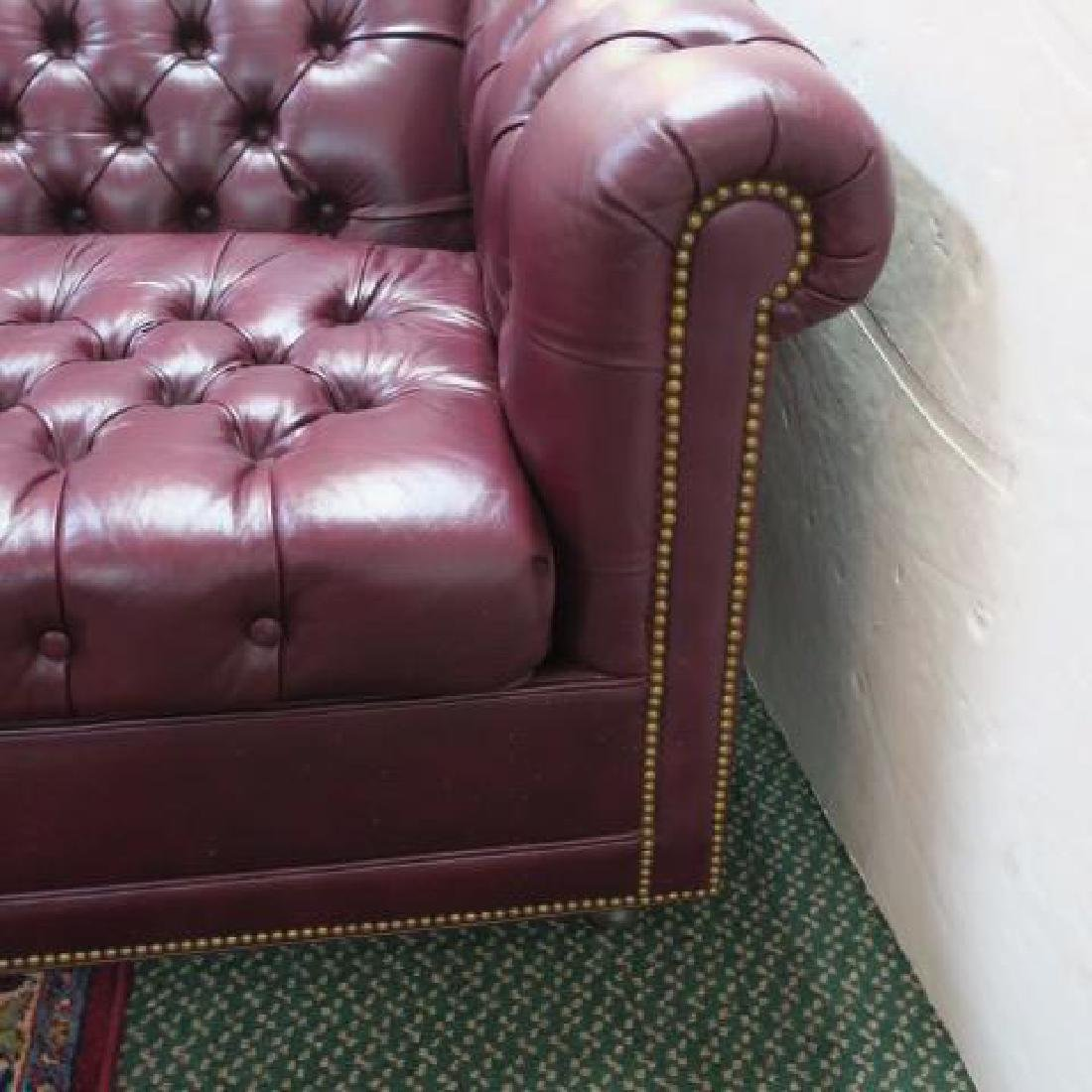 Button Tufted Leather Chesterfield Sofa Bed: - 2