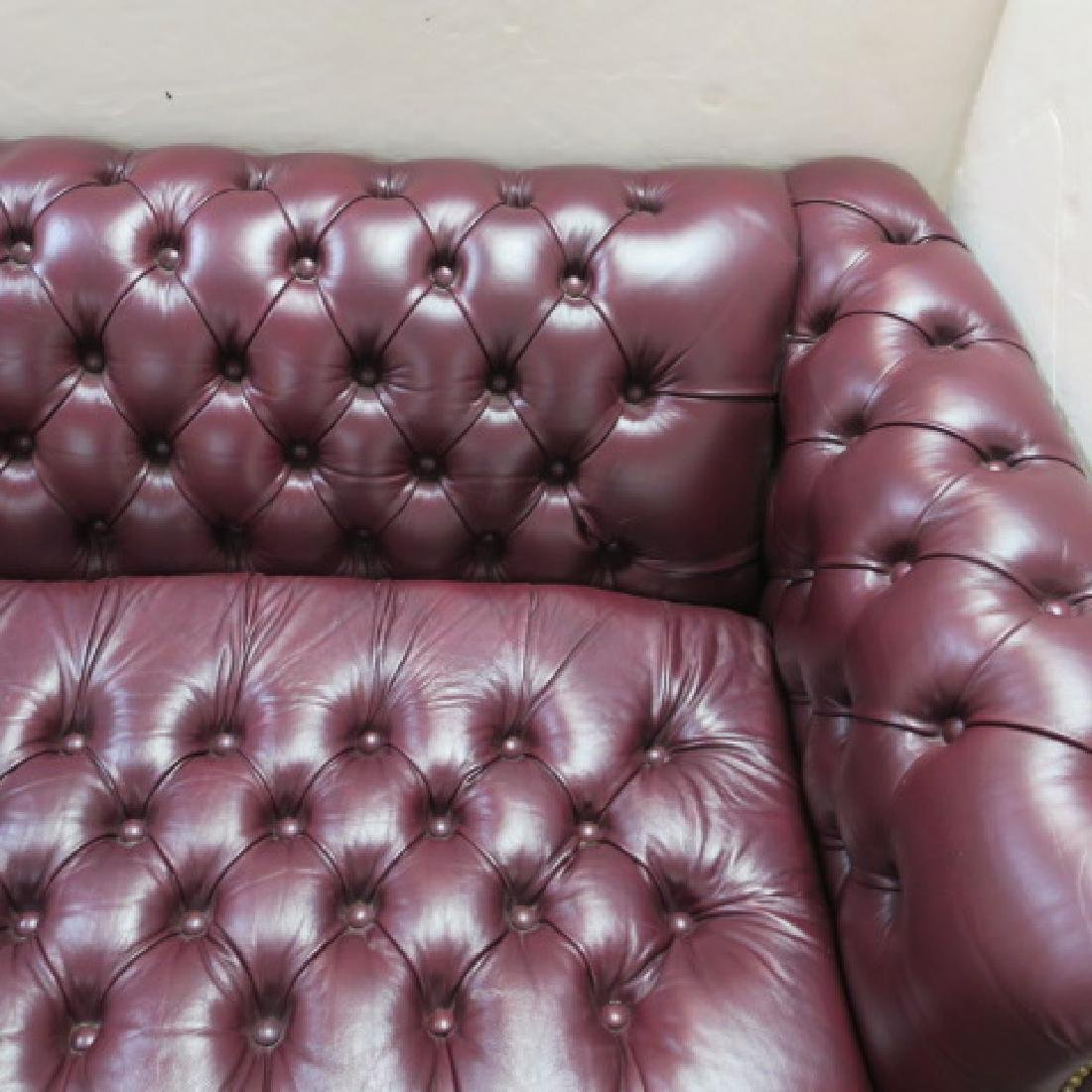 Button Tufted Leather Chesterfield Sofa Bed: - 5