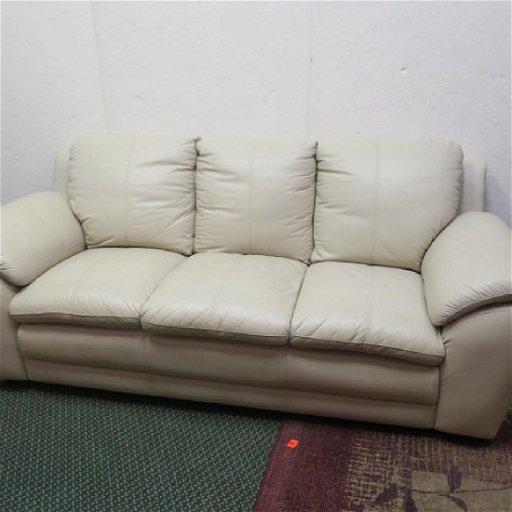 Cream Overstuffed 3 Cushion Leather Sofa