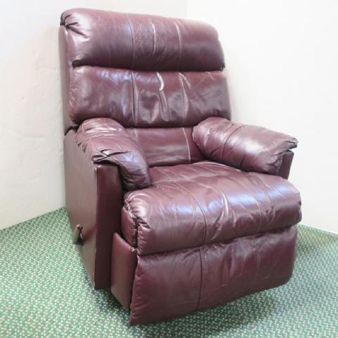 Brown Leather Swivel Seat Recliner: