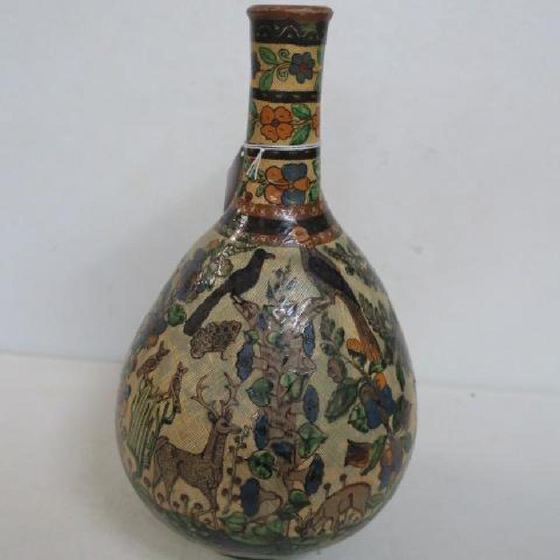 Hand Painted Long Neck Bulbous Vase: