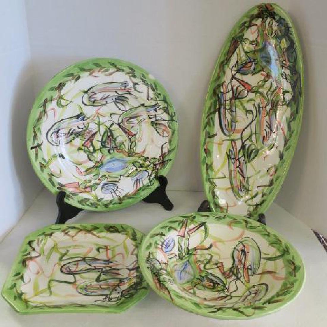 Eleven Hand Painted SUSAN LUMPKIN Ceramic Pieces: