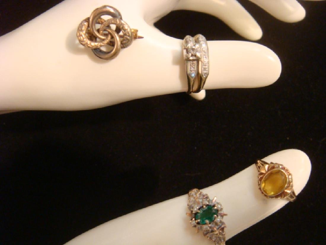 2 10KT Yellow Gold Ladies Rings and Small Lapel Pin:
