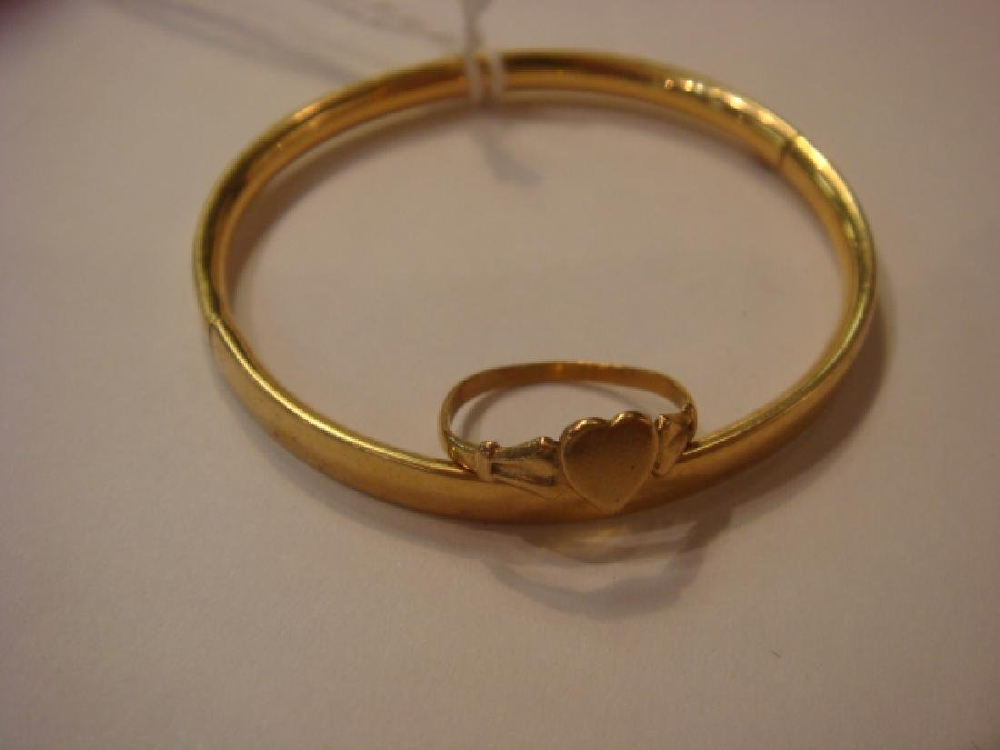14KT Yellow Gold Childs Bracelet and Ring:
