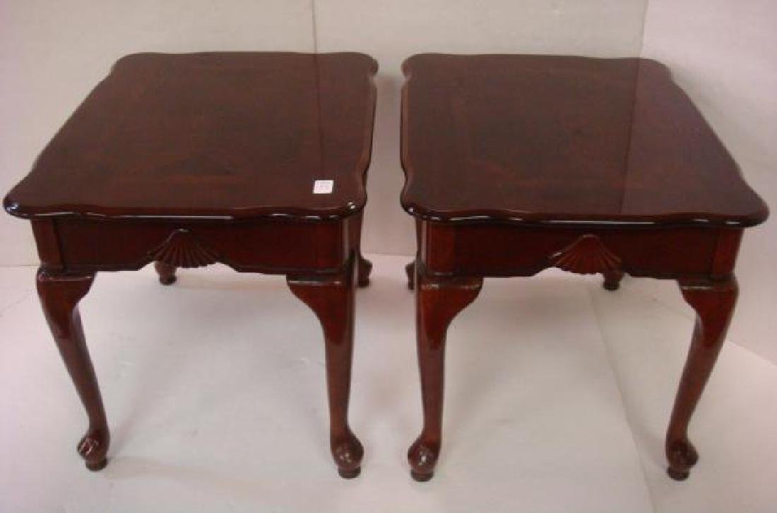 Pair of Mahogany Queen Anne Mirror Top Side Tables: