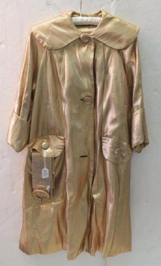 Lawrence of London Gold Metallic  Belted Coat: