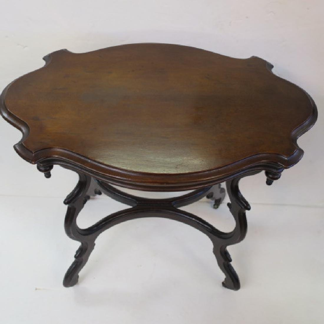 19th C. Walnut Turtle Top Side Table: