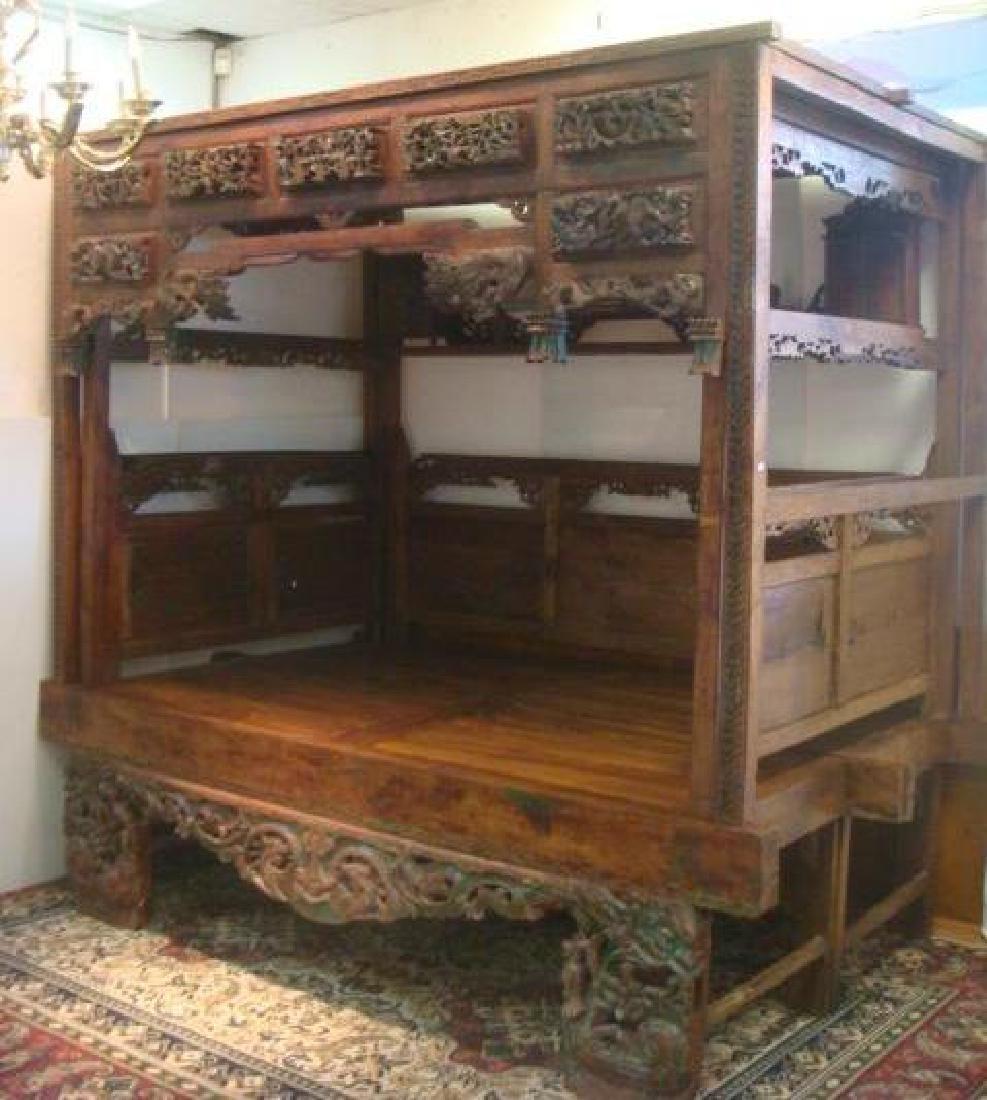 Indonesian Teak Platform Wedding Bed: