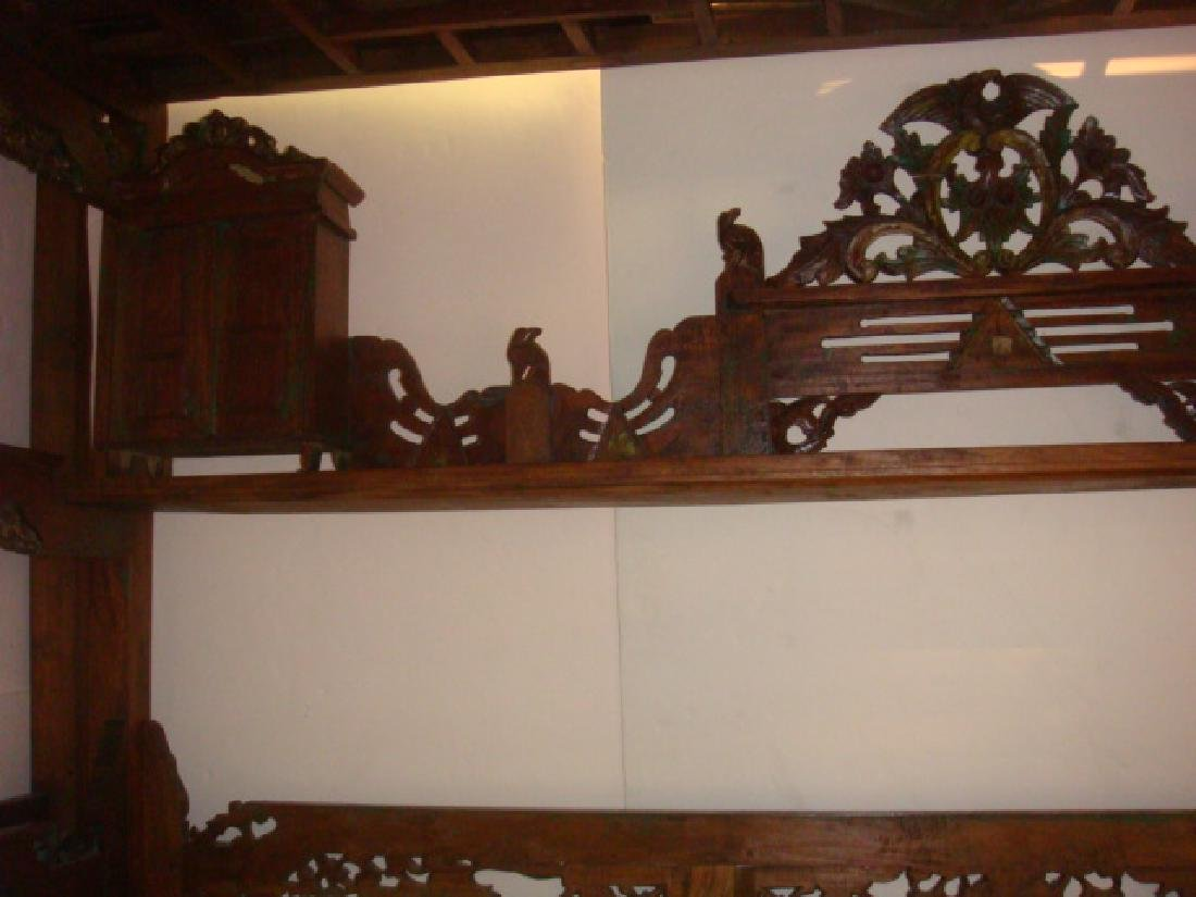 Indonesian Teak Platform Wedding Bed: - 4