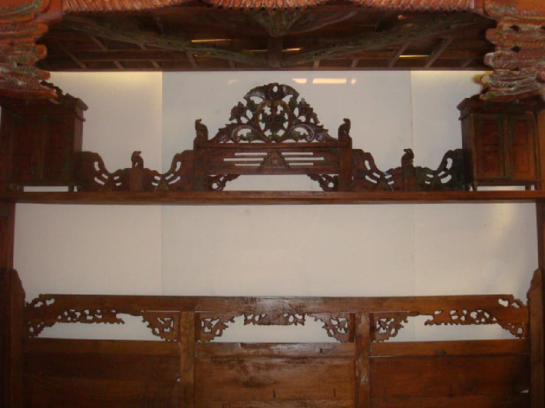 Indonesian Teak Platform Wedding Bed: - 5