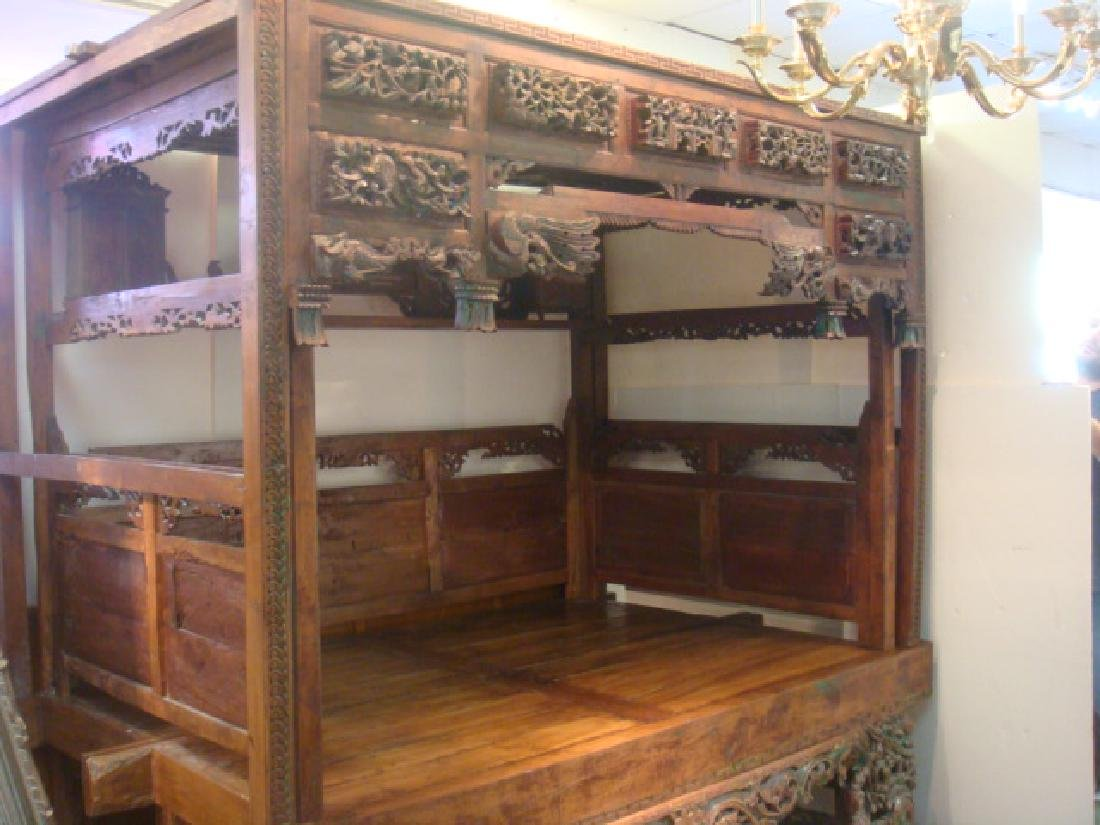Indonesian Teak Platform Wedding Bed: - 7