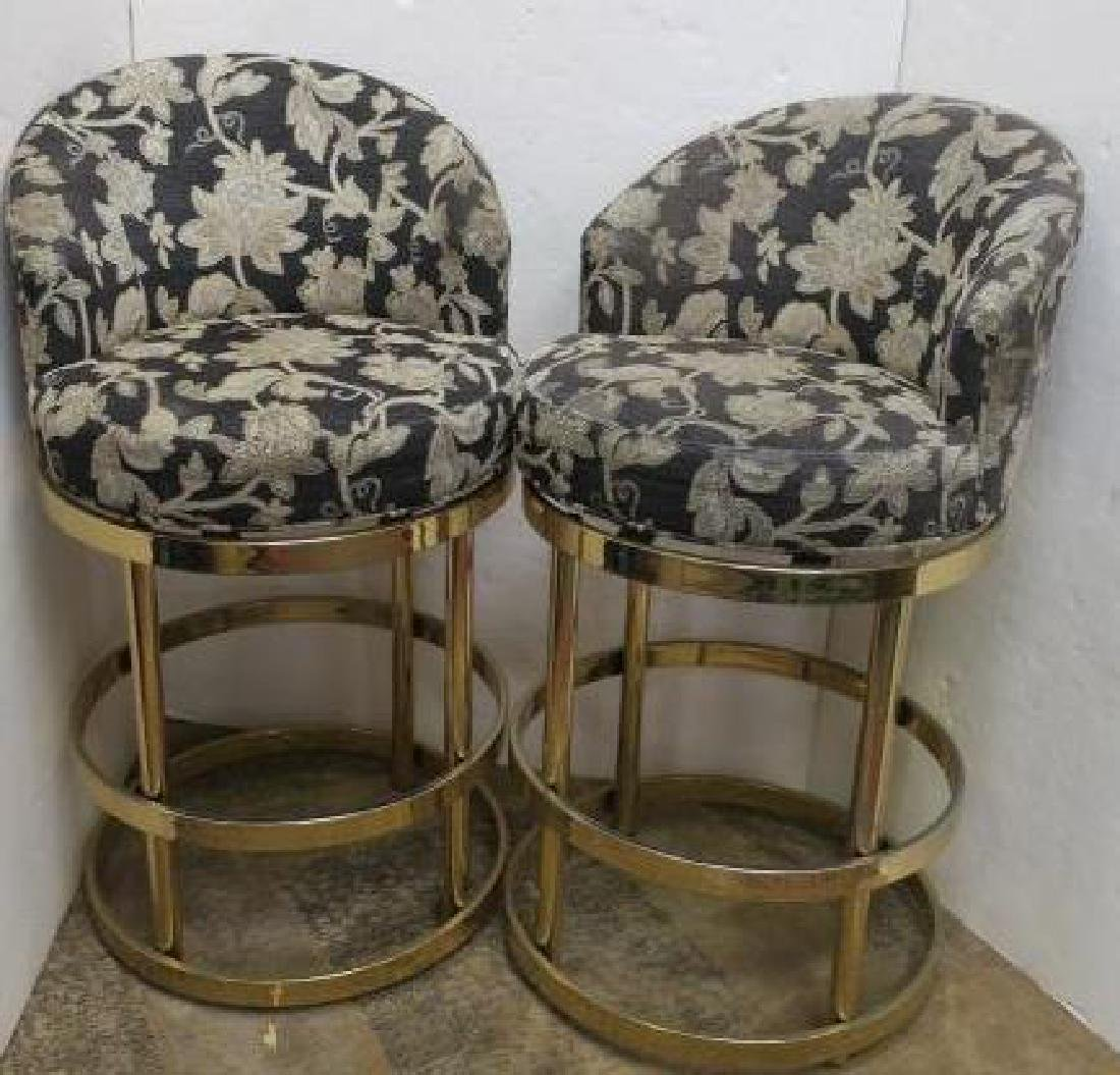 Two Upholstered Bar Swivel Stools: