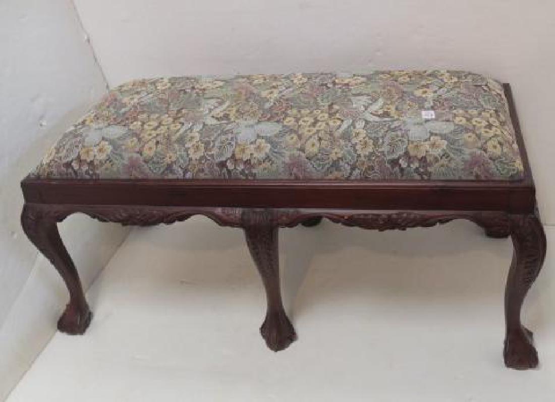 Queen Anne Style Upholstered Vanity/Window Bench: