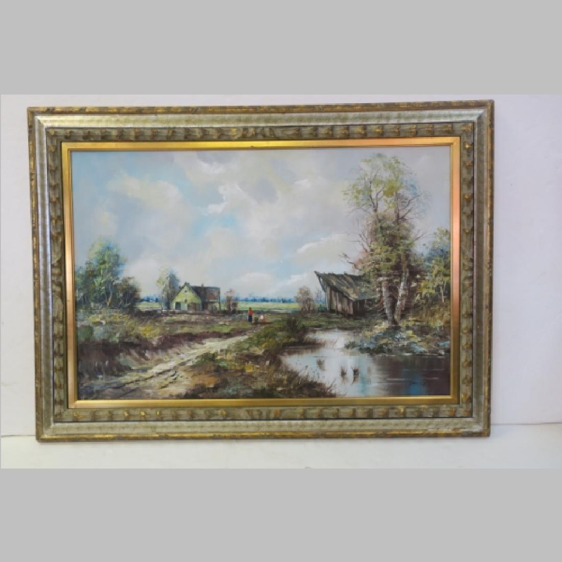 Rural Landscape Oil on Canvas Signed JACOBS: