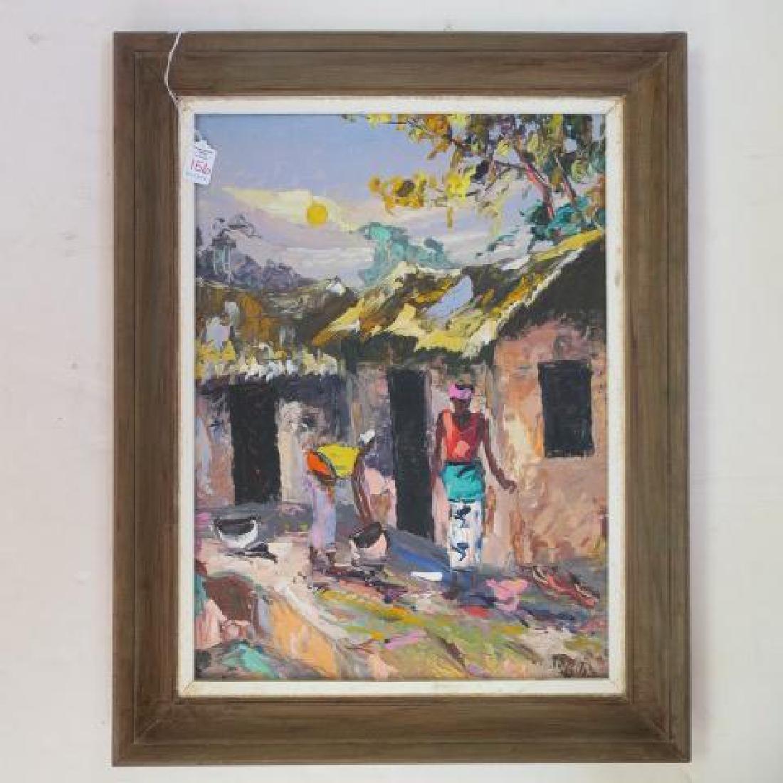 Artist Signed Island Villager Oil on Board: