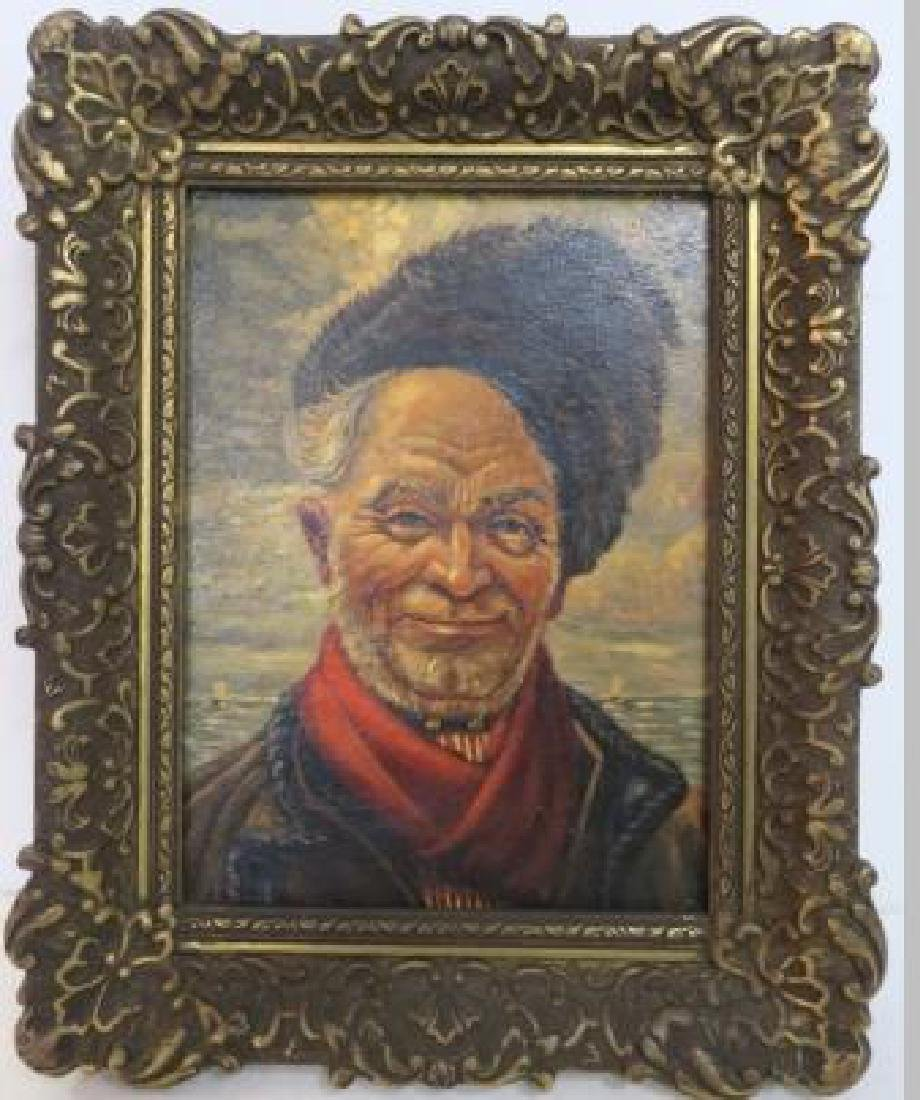 Vintage Portrait Russian Cossack Oil on Canvas: