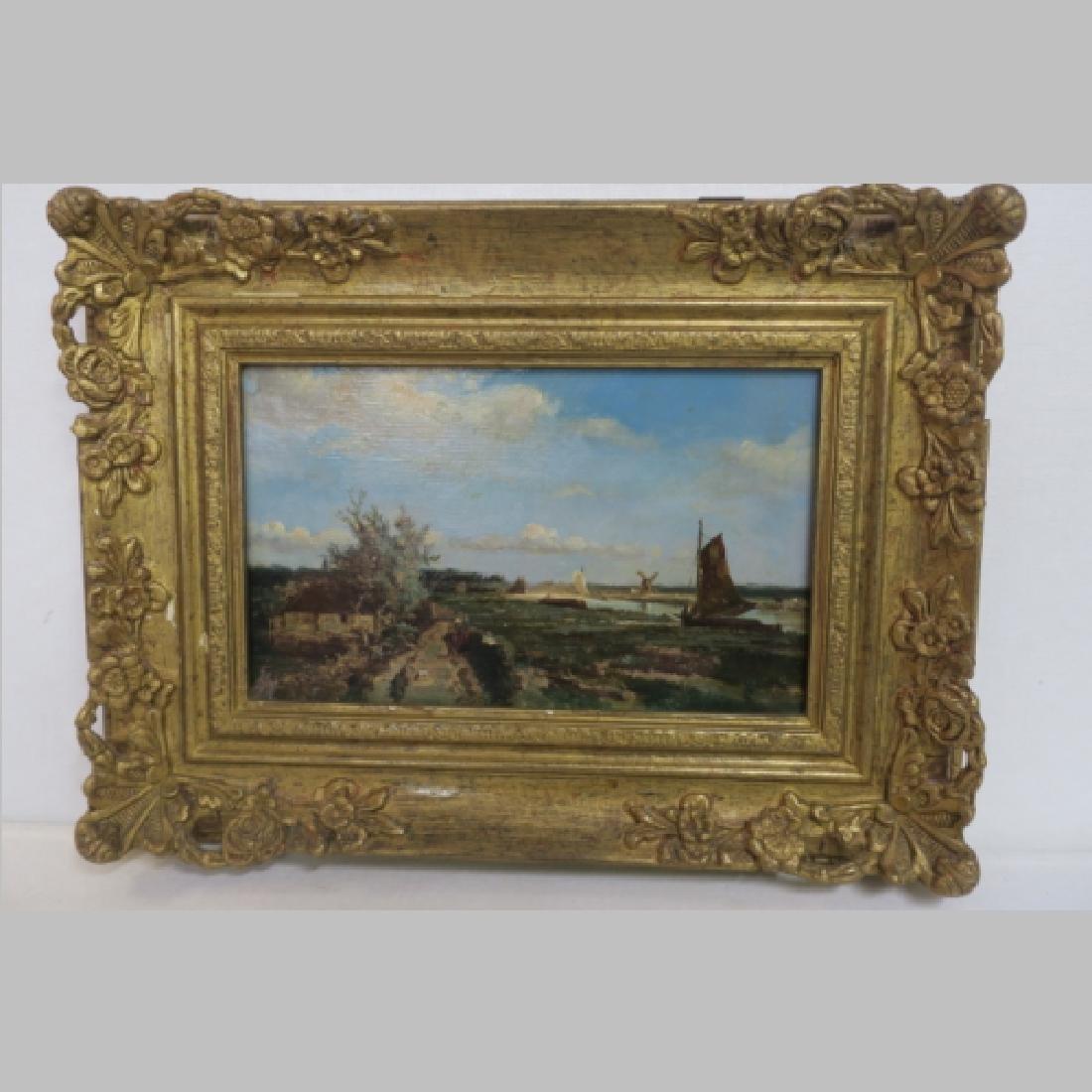 19th C Dutch Landscape Oil on Board: