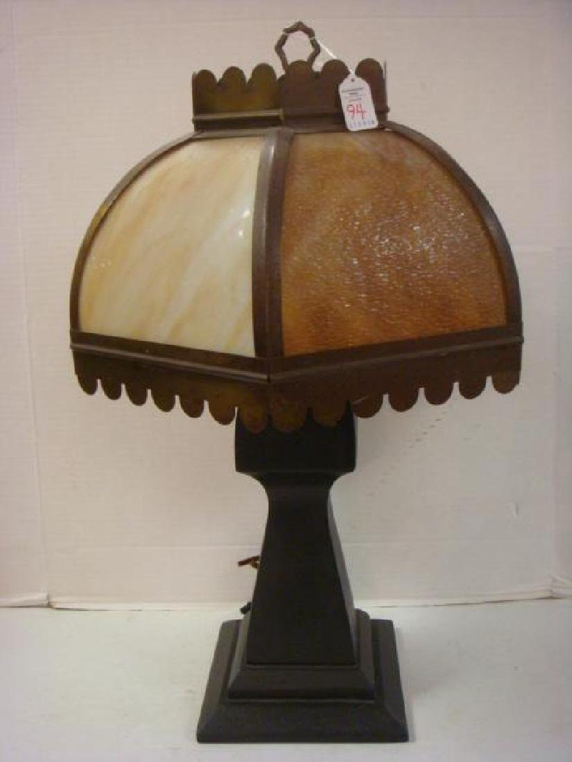 Table Lamp with Leaded Glass Shade on Walnut Base.