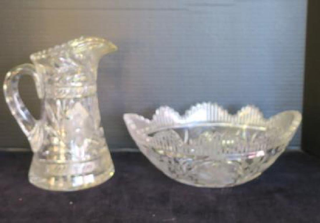 Cut Crystal Pitcher and Bowl:
