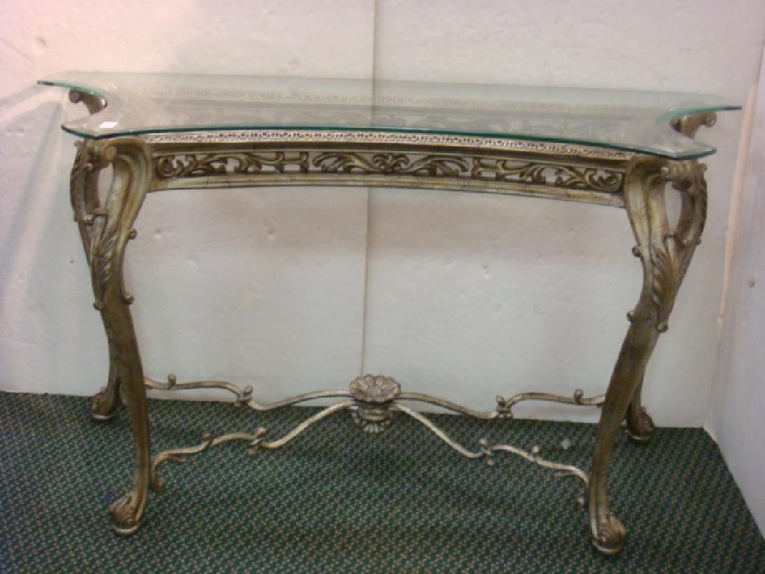 Silvered Louis XV Style Rococo Entry Way Table: