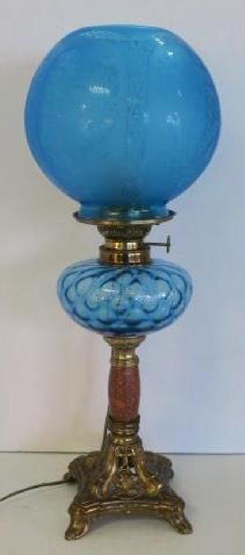 French Electrified Oil Lamp with Ball Shade: