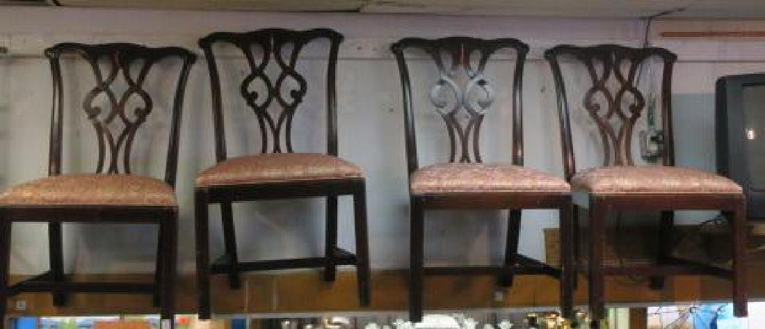 Four Upholstered Chippendale Style Side Chairs: