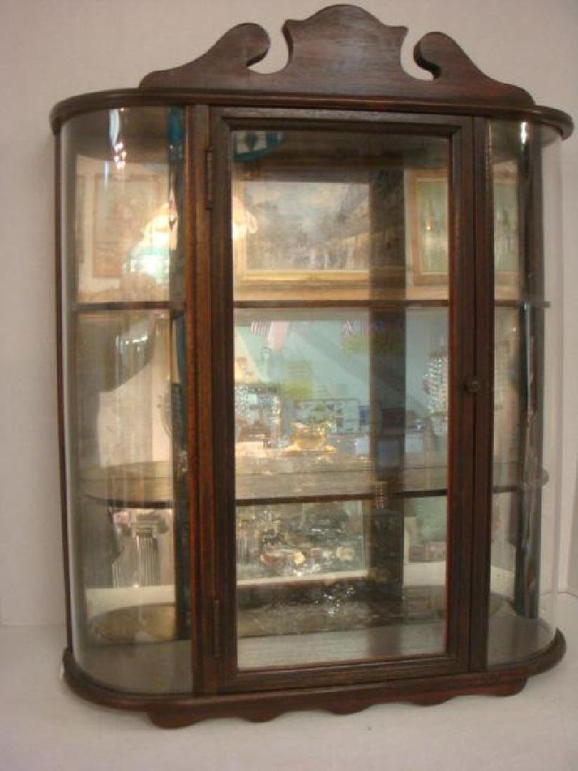 Three Shelf Glass Front Mahogany Wall Shelf:
