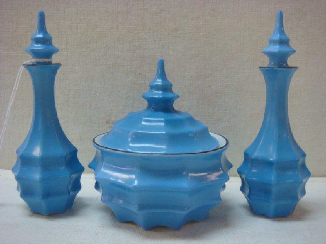 Art Deco Bavaria Ceramic Perfumes and Jar: