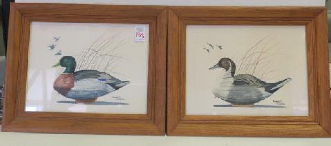 Two Signed ROBERT CLONTZ Duck Decoy Watercolors: