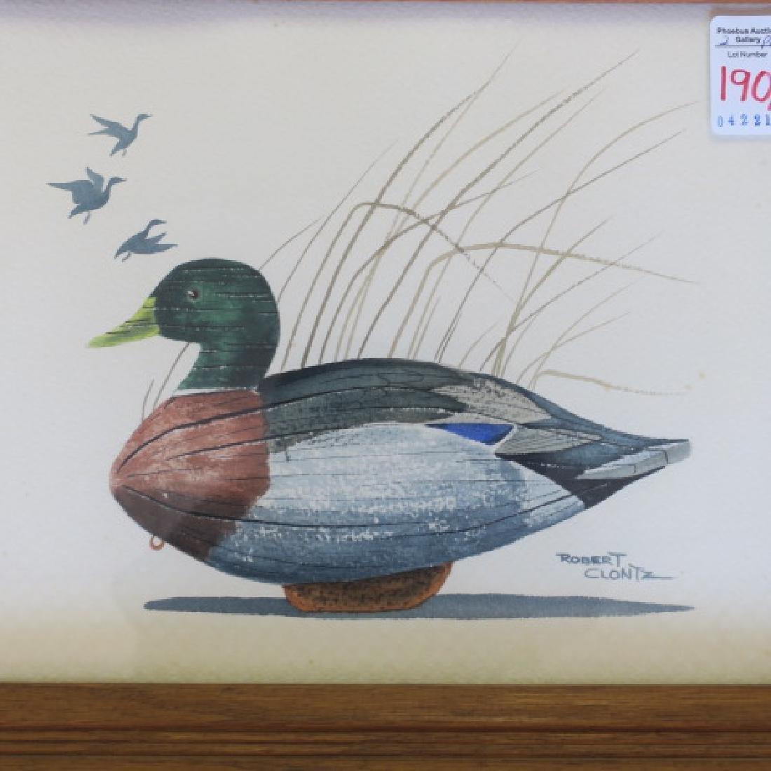 Two Signed ROBERT CLONTZ Duck Decoy Watercolors: - 2