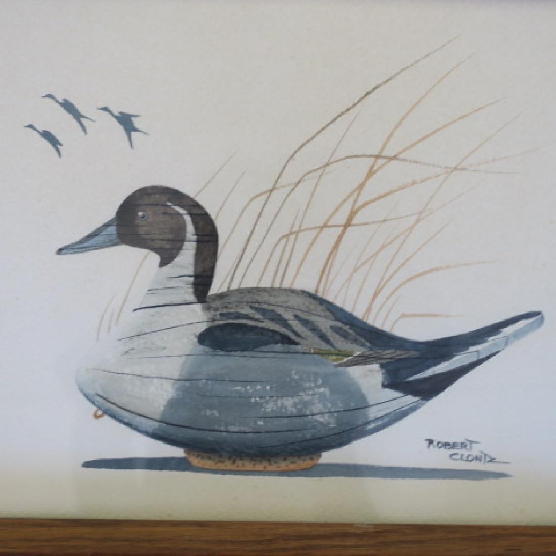 Two Signed ROBERT CLONTZ Duck Decoy Watercolors: - 4