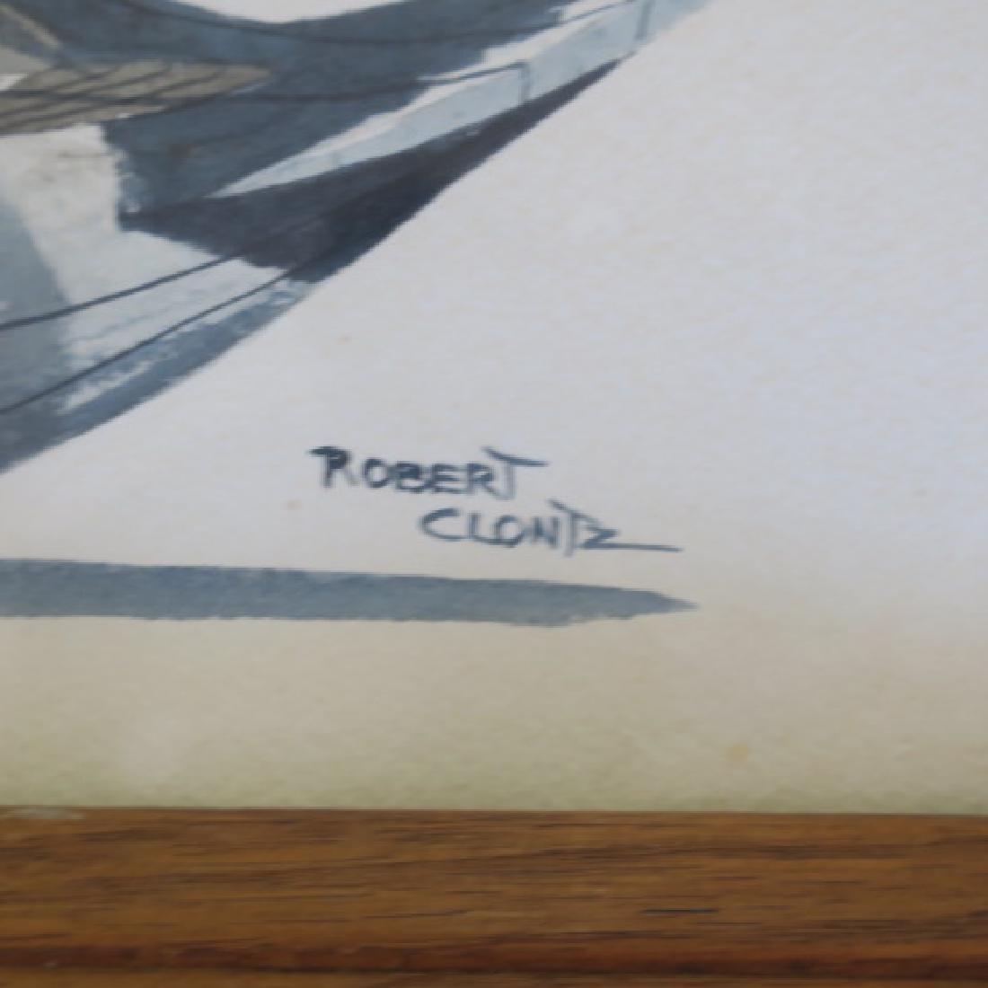 Two Signed ROBERT CLONTZ Duck Decoy Watercolors: - 5