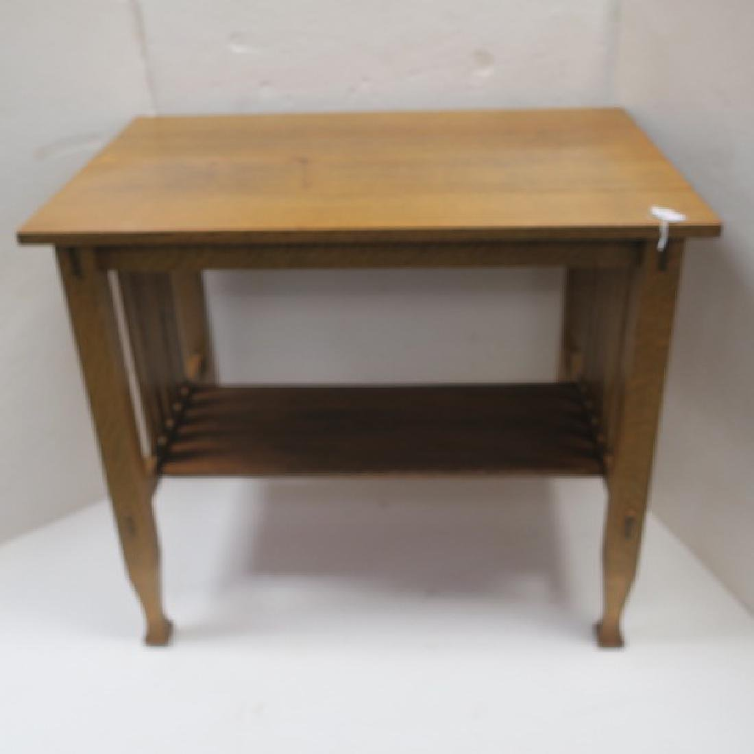 Golden Oak Arts & Crafts Table: