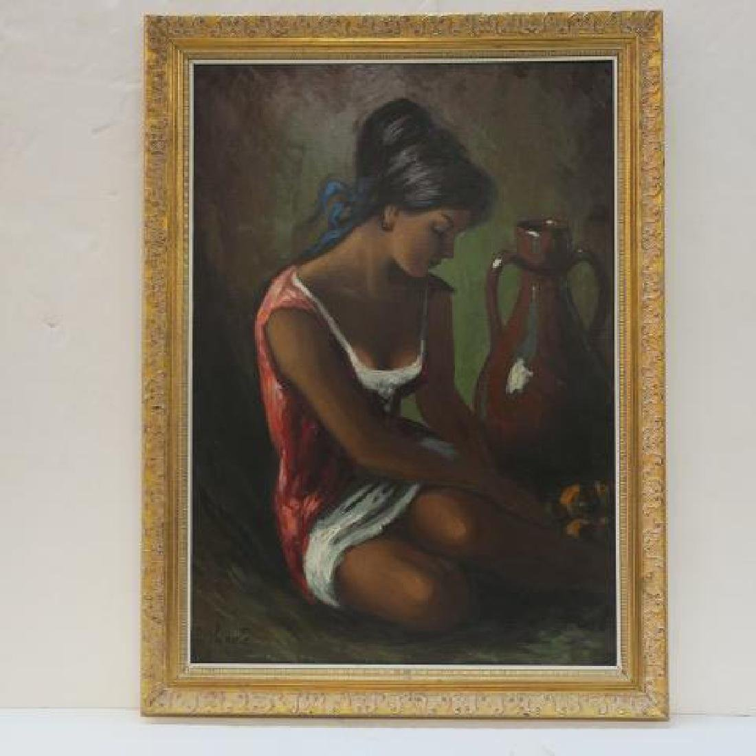 VICENTE, Oil on Canvas, YOUNG GIRL AT WELL: