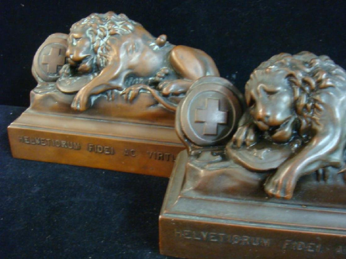 Bronze Bookends, THE LIONS OF LUCERNE - 2