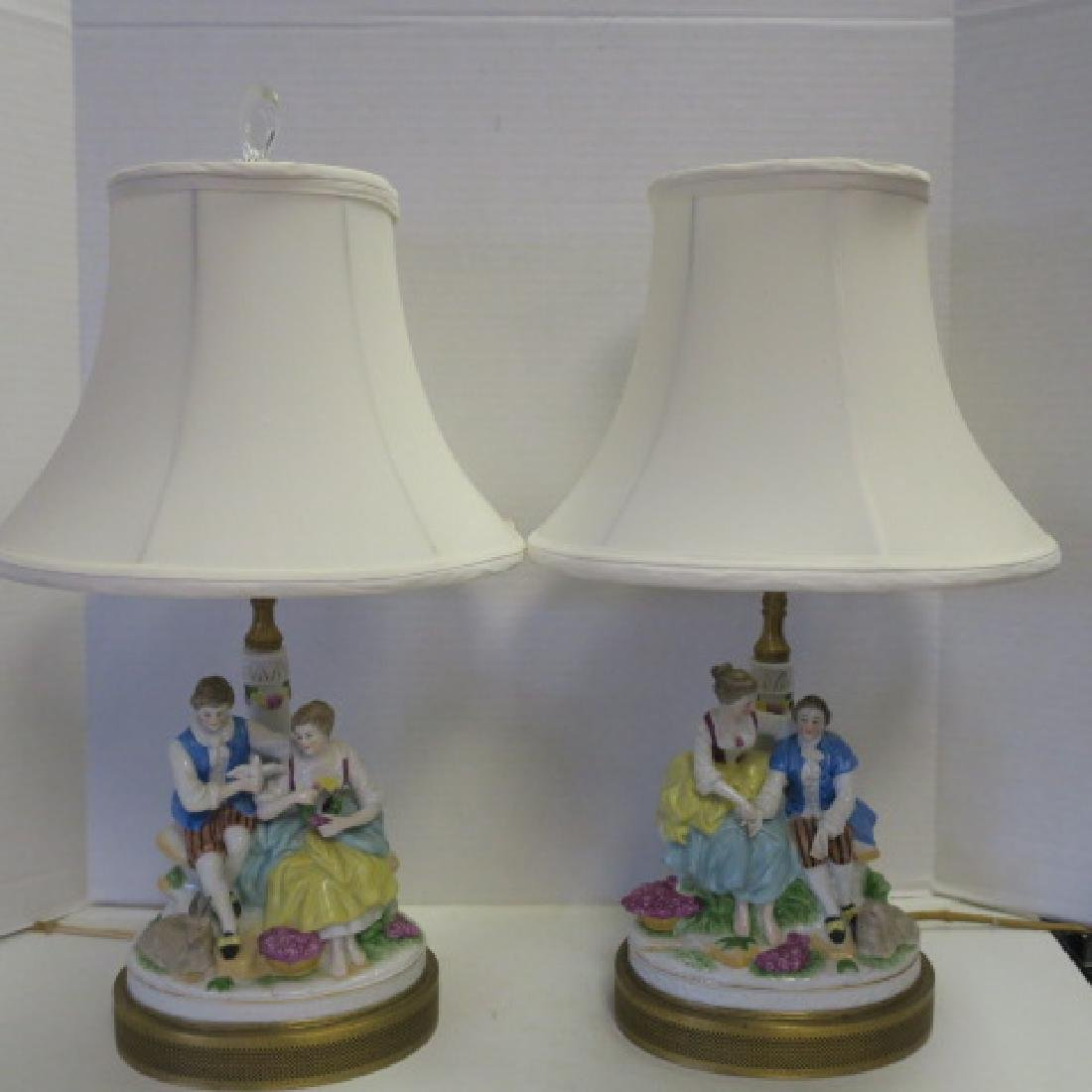 Two Porcelain Figural Table Lamps: