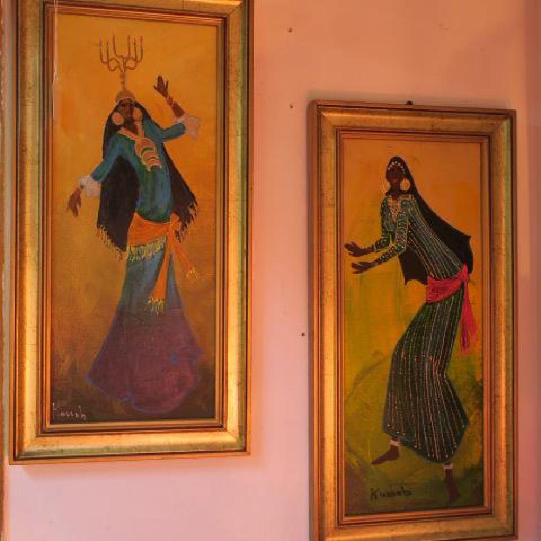 Two Paintings Middle Eastern Dancers, Signed KASSAB: