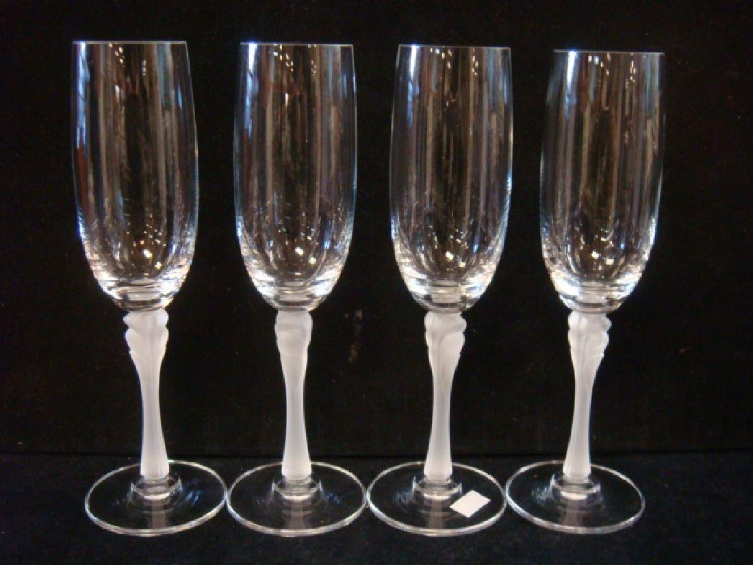 "Four MIKASA ""Firenze"" Frosted Stem Flutes:"