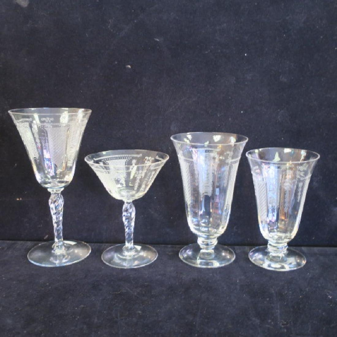 "FOSTORIA ""Beverly"" Etched Stemware, 29 Pieces:"